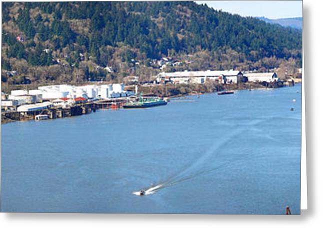 Willamette Greeting Cards - High Angle View Of A River, Willamette Greeting Card by Panoramic Images
