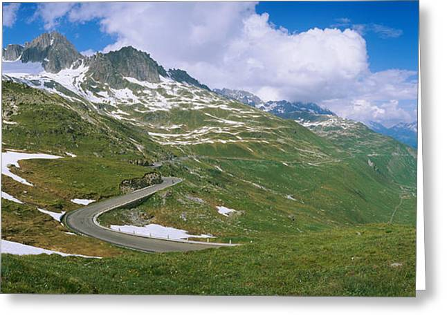 Days Pass Greeting Cards - High Angle View Of A Road Passing Greeting Card by Panoramic Images
