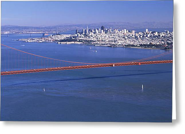 San Francisco Bay Greeting Cards - High Angle View Of A Suspension Bridge Greeting Card by Panoramic Images