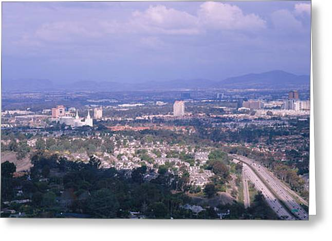 Images Of San Diego Greeting Cards - High Angle View Of A Temple In A City Greeting Card by Panoramic Images
