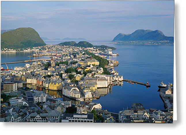 Norway Harbor Greeting Cards - High Angle View Of A Town, Alesund Greeting Card by Panoramic Images