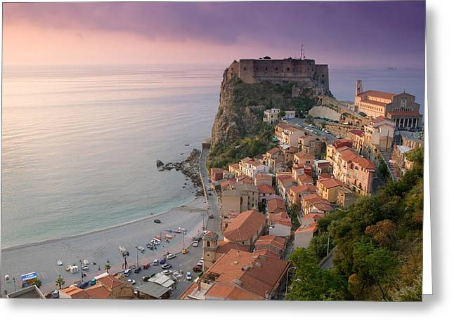High Angle View Of A Town And A Castle Greeting Card by Panoramic Images