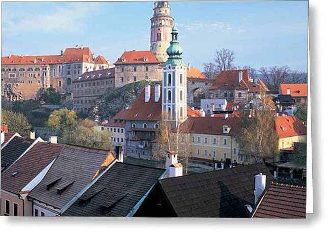 High Angle View Of A Town, Cesky Greeting Card by Panoramic Images