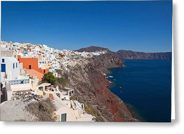 Oia Greeting Cards - High Angle View Of A Town On An Island Greeting Card by Panoramic Images