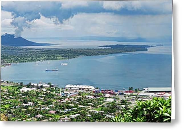 High Angle View Of A Town On The Coast Greeting Card by Panoramic Images