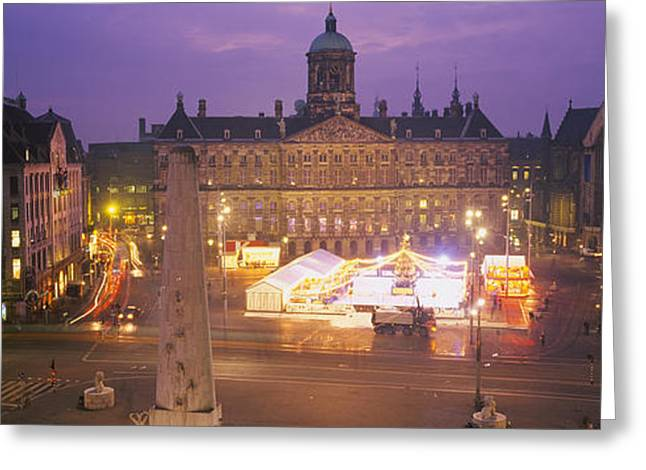 Liberation Greeting Cards - High Angle View Of A Town Square Lit Greeting Card by Panoramic Images