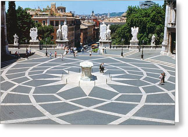 Town Square Greeting Cards - High Angle View Of A Town Square Greeting Card by Panoramic Images