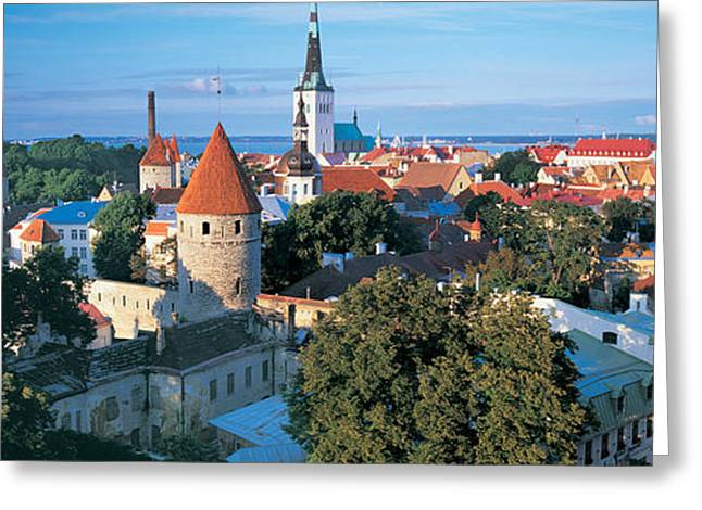 Estonia Greeting Cards - High Angle View Of A Town, Tallinn Greeting Card by Panoramic Images