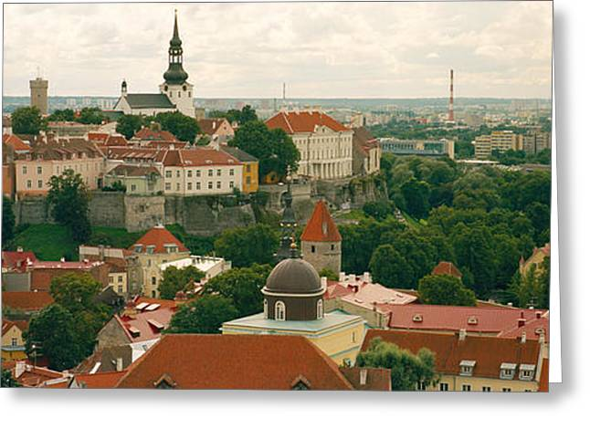 Estonia Greeting Cards - High Angle View Of A Townscape, Old Greeting Card by Panoramic Images