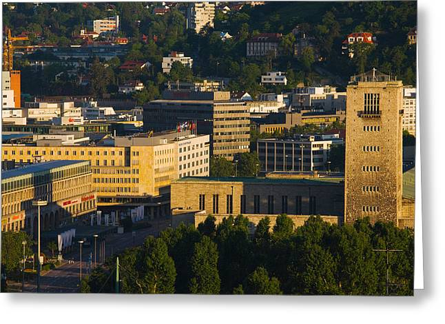 Stuttgart Greeting Cards - High Angle View Of A Train Station Greeting Card by Panoramic Images