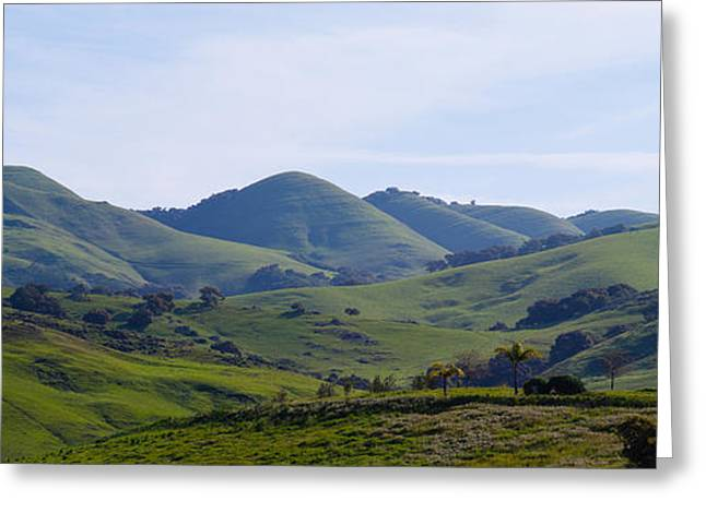 San Luis Obispo Greeting Cards - High Angle View Of A Valley, Edna Greeting Card by Panoramic Images
