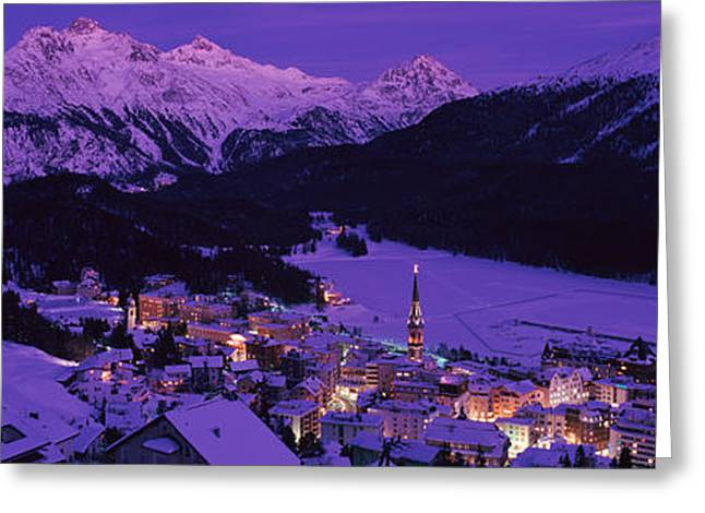 Graubunden Greeting Cards - High Angle View Of A Village, St Greeting Card by Panoramic Images