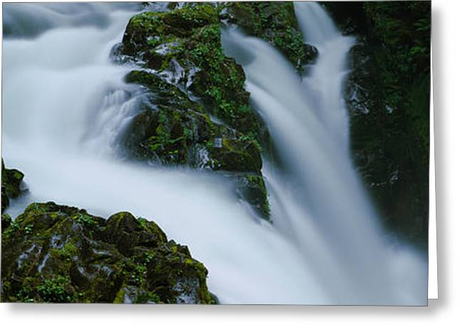 Moss Greeting Cards - High Angle View Of A Waterfall, Sol Duc Greeting Card by Panoramic Images