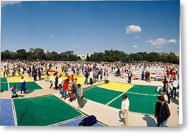 Concern Photographs Greeting Cards - High Angle View Of Aids Quilt Greeting Card by Panoramic Images
