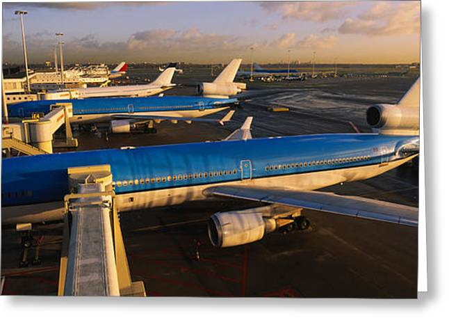 Fuselage Greeting Cards - High Angle View Of Airplanes At An Greeting Card by Panoramic Images