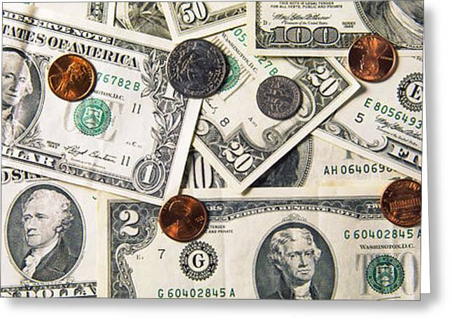 Coins Greeting Cards - High Angle View Of American Money Greeting Card by Panoramic Images