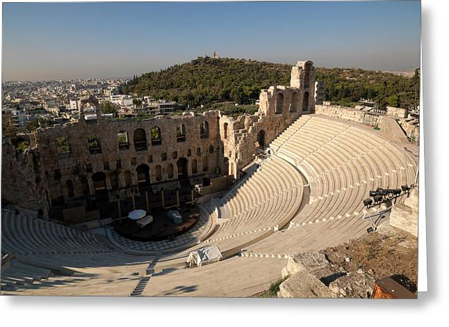 Acropolis Photographs Greeting Cards - High Angle View Of An Amphitheater Greeting Card by Panoramic Images