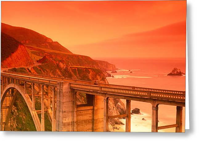 Big Sur California Greeting Cards - High Angle View Of An Arch Bridge Greeting Card by Panoramic Images