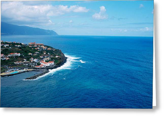 Azores Greeting Cards - High Angle View Of An Island, Ponta Greeting Card by Panoramic Images