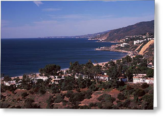 High Angle View Of An Ocean, Malibu Greeting Card by Panoramic Images