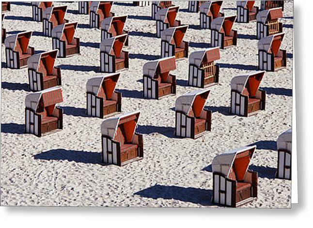 Repetition Greeting Cards - High Angle View Of Beach Baskets On The Greeting Card by Panoramic Images