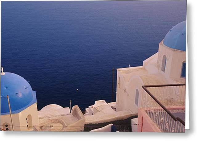 Oia Greeting Cards - High Angle View Of Blue Domed Church Greeting Card by Panoramic Images