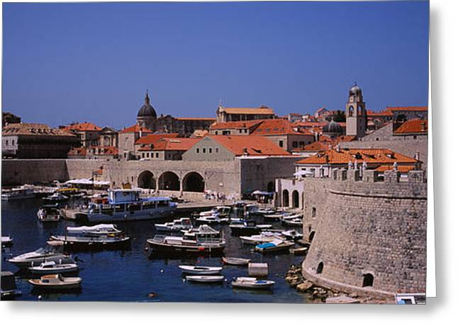 Fortified Wall Greeting Cards - High Angle View Of Boats At A Port, Old Greeting Card by Panoramic Images