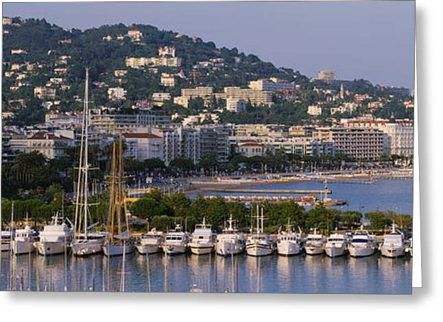 Docked Sailboat Greeting Cards - High Angle View Of Boats Docked At Greeting Card by Panoramic Images