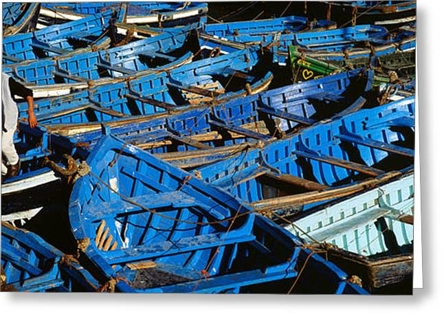 Mode Of Transport Greeting Cards - High Angle View Of Boats Docked Greeting Card by Panoramic Images