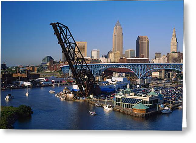 Downtown District Greeting Cards - High Angle View Of Boats In A River Greeting Card by Panoramic Images