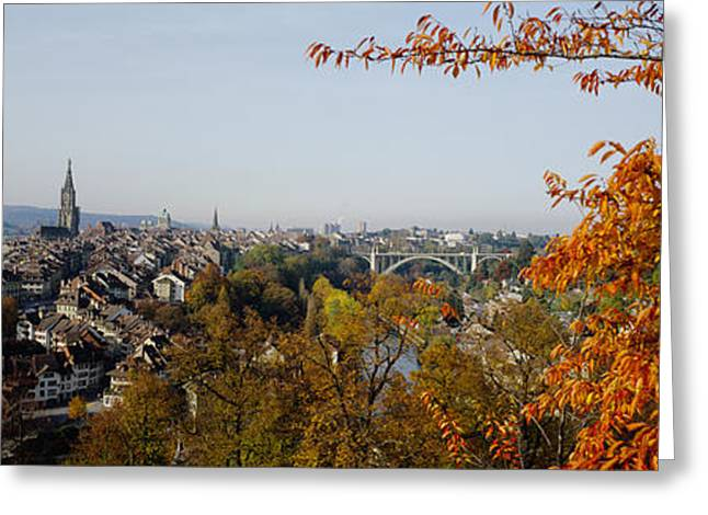 Colors Of Autumn Greeting Cards - High Angle View Of Buildings, Berne Greeting Card by Panoramic Images
