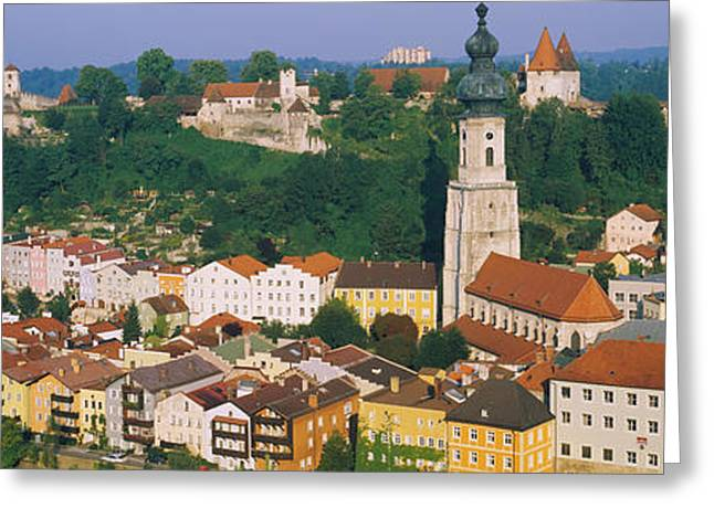 Residential Structure Greeting Cards - High Angle View Of Buildings In A Town Greeting Card by Panoramic Images