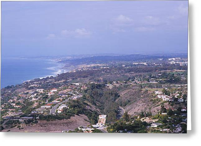 California Ocean Photography Greeting Cards - High Angle View Of Buildings On A Hill Greeting Card by Panoramic Images