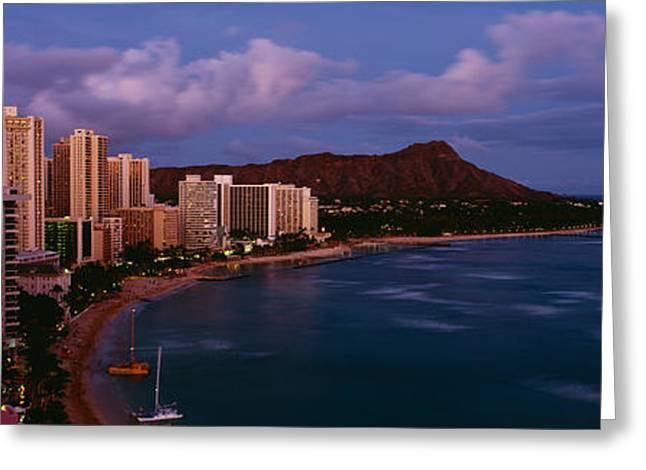 Sailboat Images Greeting Cards - High Angle View Of Buildings On The Greeting Card by Panoramic Images