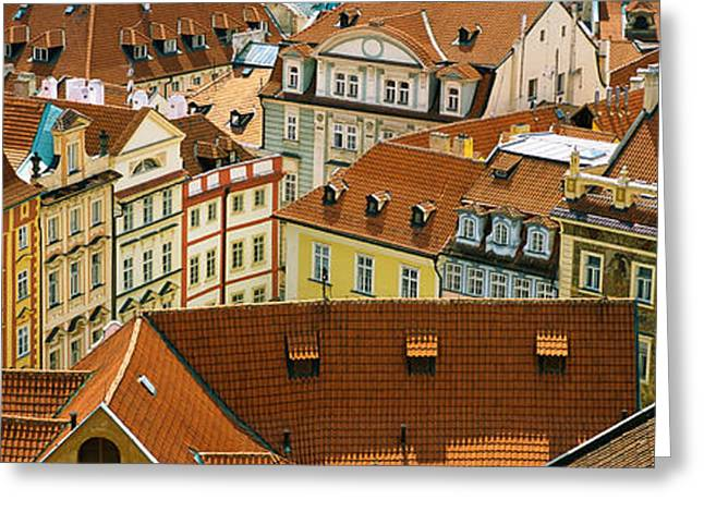 """roof Tile"" Greeting Cards - High Angle View Of Buildings, Prague Greeting Card by Panoramic Images"