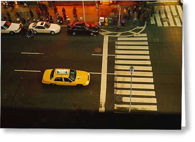 Voyeur Greeting Cards - High Angle View Of Cars At A Zebra Greeting Card by Panoramic Images