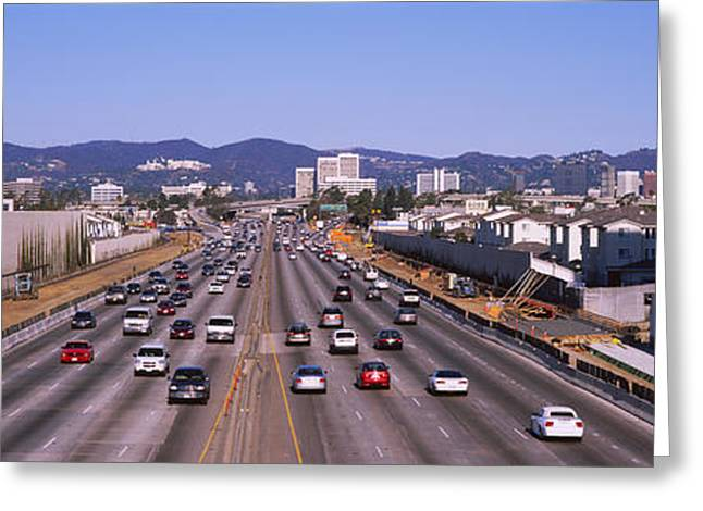Los Angeles Freeways Greeting Cards - High Angle View Of Cars On The Road Greeting Card by Panoramic Images