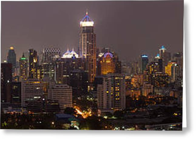 Evening Scenes Greeting Cards - High Angle View Of City At Dusk Greeting Card by Panoramic Images