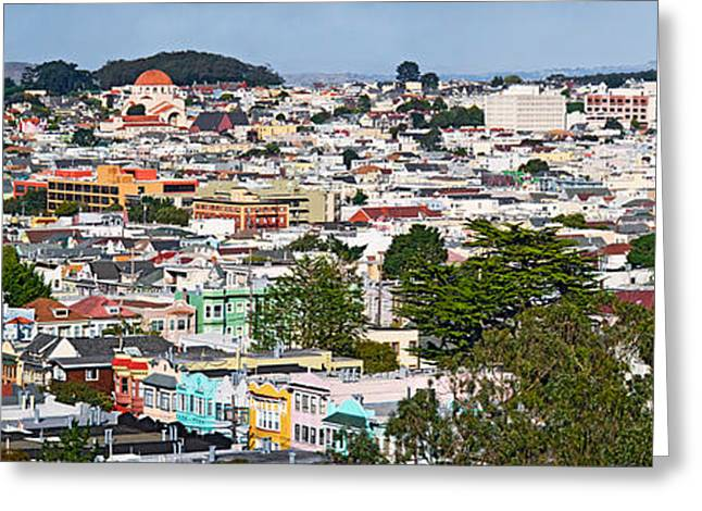 Golden Gate Park Greeting Cards - High Angle View Of Colorful Houses Greeting Card by Panoramic Images