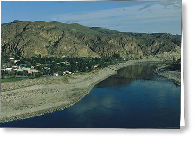 Small Towns Greeting Cards - High Angle View Of Columbia River Greeting Card by Panoramic Images