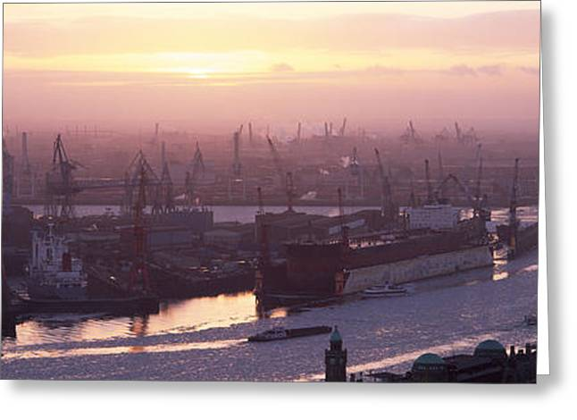Tower Crane Greeting Cards - High Angle View Of Container Ships Greeting Card by Panoramic Images