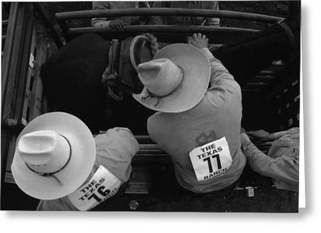 Horse Images Greeting Cards - High Angle View Of Cowboys With Horses Greeting Card by Panoramic Images