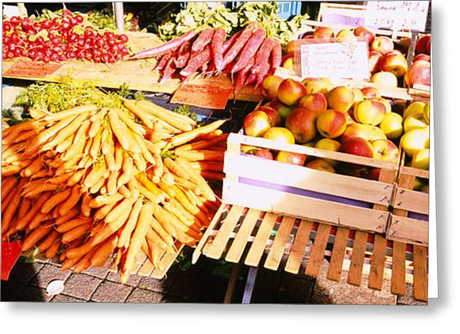 Apple Crates Greeting Cards - High Angle View Of Fruits Greeting Card by Panoramic Images