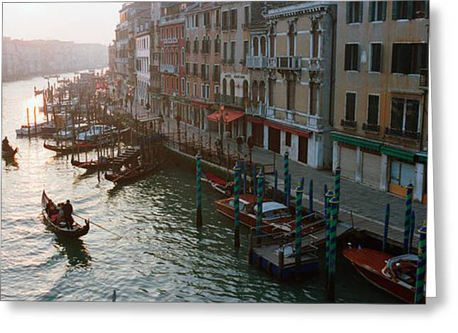 Gondolier Photographs Greeting Cards - High Angle View Of Gondolas In A Canal Greeting Card by Panoramic Images