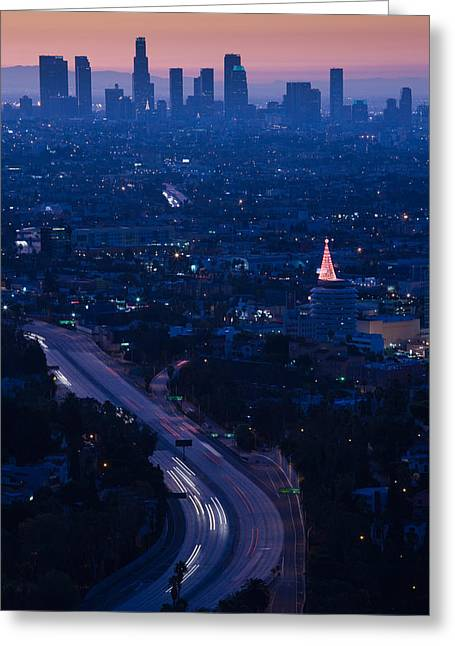 Los Angeles Freeways Greeting Cards - High Angle View Of Highway 101 At Dawn Greeting Card by Panoramic Images