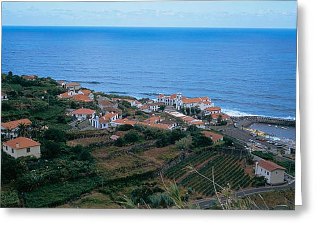 Azores Greeting Cards - High Angle View Of Houses At A Coast Greeting Card by Panoramic Images
