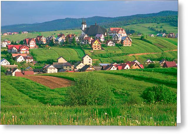 Slovakia Greeting Cards - High Angle View Of Houses In A Field Greeting Card by Panoramic Images