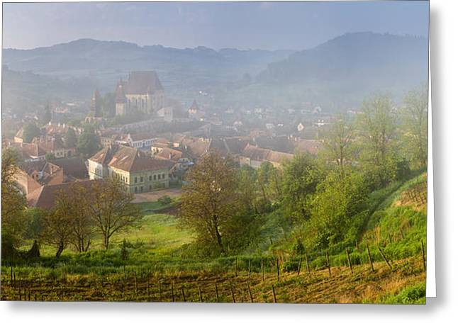 Romania Greeting Cards - High Angle View Of Houses In A Village Greeting Card by Panoramic Images