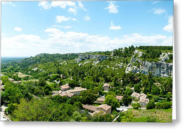 Provence Village Photographs Greeting Cards - High Angle View Of Limestone Hills Greeting Card by Panoramic Images