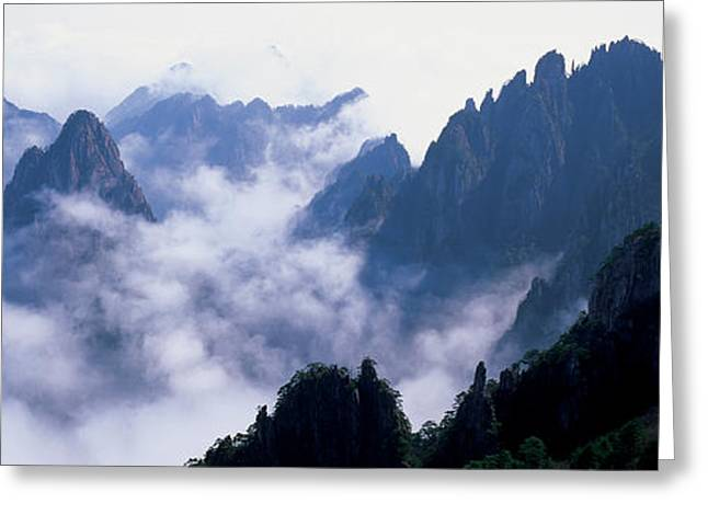 Elevated Greeting Cards - High Angle View Of Misty Mountains Greeting Card by Panoramic Images